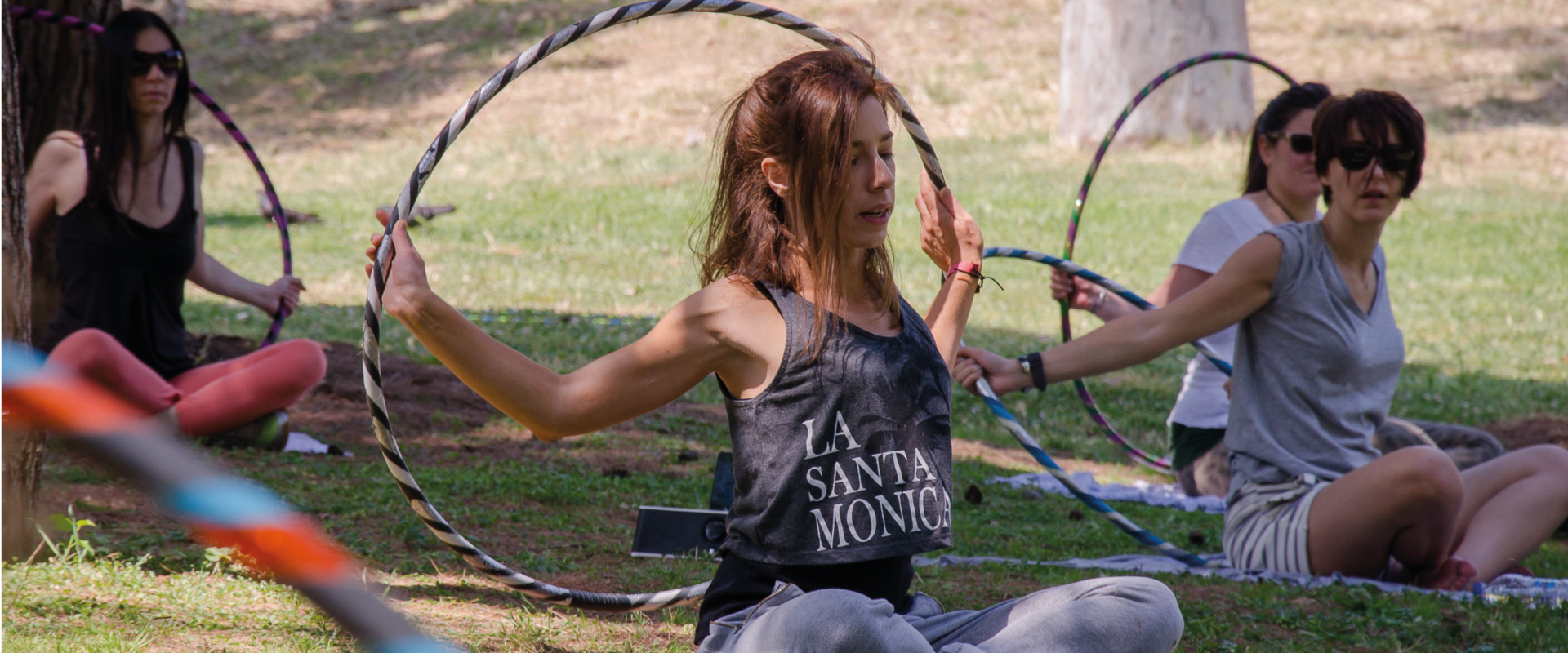 One of the Outdoor Hula Hoop Workshops in Athens Greece taught by Sunny Diz